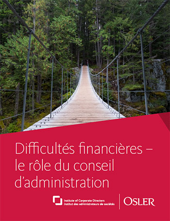 Difficultés financières – le rôle du conseil d'administration