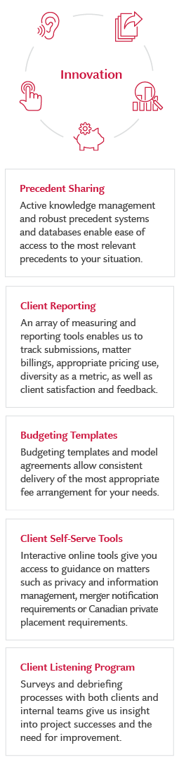 Client Listening Program / Client Reporting / Client Self-Serve Tools / Budgeting Templates / Precedent Sharing